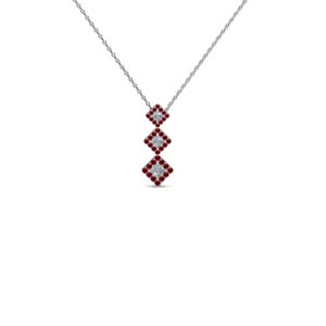 graduated 3 princess cut diamond drop necklace pendant with ruby in 14K white gold FDPD2317GRUDR NL WG GS