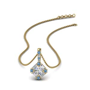 halo baguette diamond pendant-with-blue-topaz-in-FDPD242GICBLTO-NL-YG