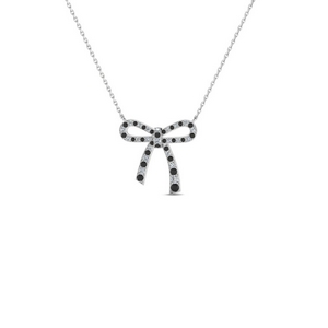 Bow Design Black Diamond Necklace