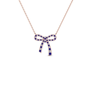 Bow Pattern Diamond And Sapphire Pendant