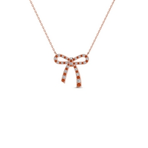 Diamond And Orange Sapphire Necklace