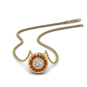 Yellow Gold Orange Sapphire Pendant
