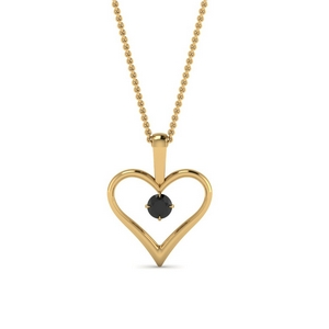 open heart black diamond solitaire drop pendant in FDPD60961GBLACK NL YG
