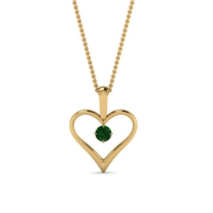 open heart emerald solitaire drop pendant in FDPD60961GEMGR NL YG