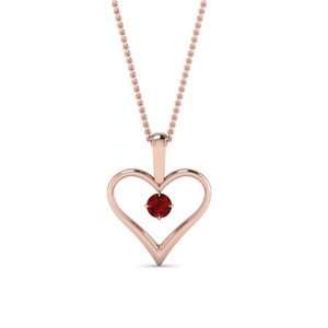 open heart ruby solitaire drop pendant in FDPD60961GRUDR NL RG