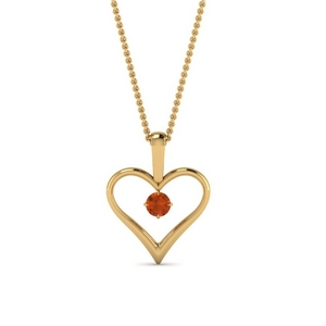 open heart orange sapphire solitaire drop pendant in FDPD60961GSAOR NL YG