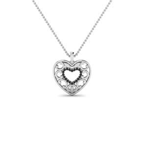Platinum Black Diamond Pendant For Her