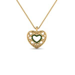 18K Gold Emerald Pendant