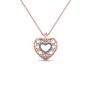 Blue Topaz Heart Pattern Necklace