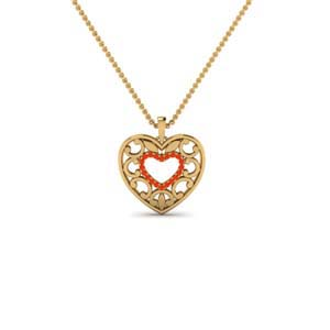Orange Topaz Heart Shape Style Pendant