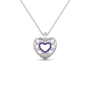 Purple Topaz Filigree Design Necklace