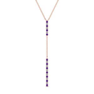 Long Straight Bar Purple Topaz Pendant