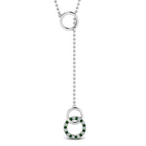Circle Y Necklace With Emerald