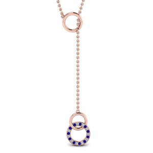 Rose Gold Sapphire Open Circle Pendant