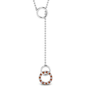 Y Design Necklace With Orange Sapphire