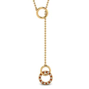 Diamond Circle Y Necklace