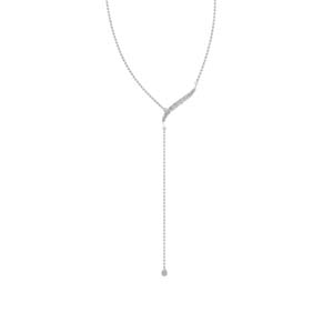 Platinum Long Chain Drop Pendant