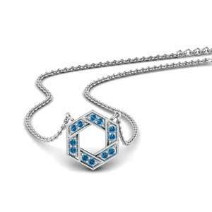 Pave Hexagon Pendant With Topaz