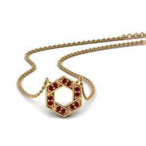 Ruby Pave Pendant Necklace
