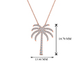 palm tree diamond pendant necklace in 14K rose gold FDPD67127 NL RG HW