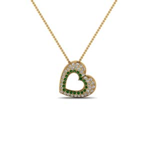 Pave Heart Pendant With Emerald