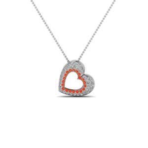 Heart Pendant With Orange Topaz