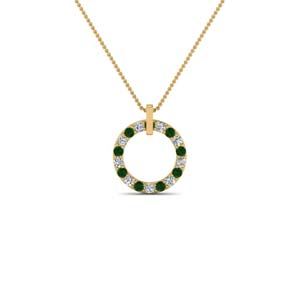 Gold Open Round Emerald Pendant