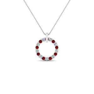 fancy circular diamond necklace pendant for women with ruby in 14K white gold FDPD8090GRUDR NL WG