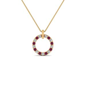 Gold Open Round Pink Sapphire Pendant