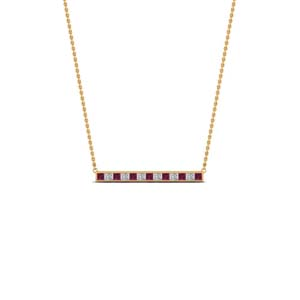 princess cut diamond bar necklace pendant with pink sapphire in FDPD8091GSADRPI NL YG