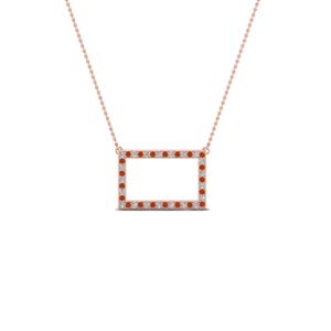 open rectangle pave diamond pendant with orange sapphire in FDPD8093GSAOR NL RG