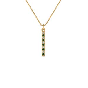 fancy pave straight bar diamond necklace pendant with emerald in FDPD8094GEMGR NL YG