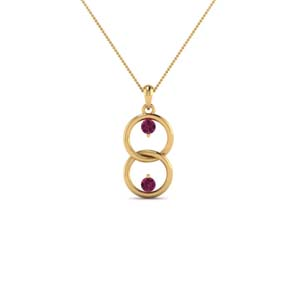 14K Gold Pink Sapphire Necklace