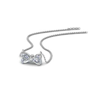 14K White Gold Bow Design Necklace