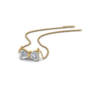 2 Heart Diamond Necklace For Her