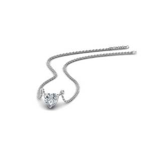 14K White Gold Single Stone Necklace