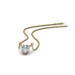 14K Gold Single Stone Pendant