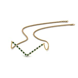 18K Gold Emerald Necklace For Her