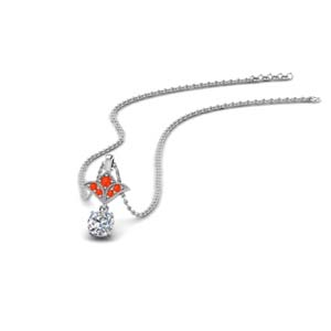 Orange Topaz Milgrain Drop Pendant