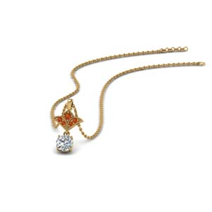 Orange Sapphire Pendant For Women