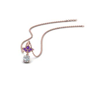 18K Rose Gold Purple Topaz Pendant