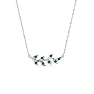 Emerald Leaf Pendant For Women