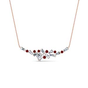 Baguette Cluster Diamond Necklace