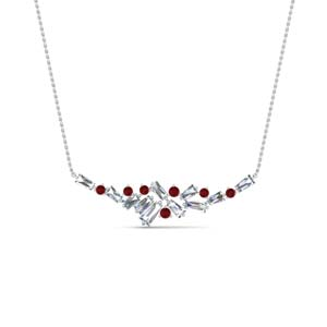 Platinum Baguette Necklace With Ruby