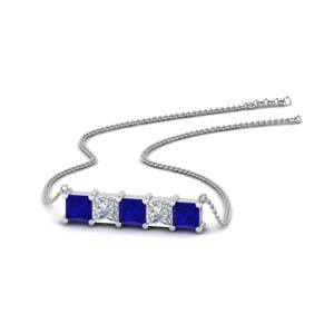 5 stone princess cut diamond bar pendant with blue sapphire in FDPD8413GSABL NL WG