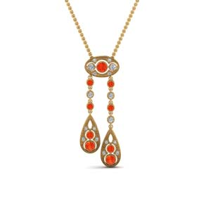 Drop Pendant With Orange Topaz