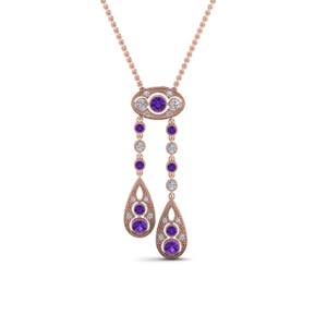 Purple Topaz Milgrain Drop Pendant
