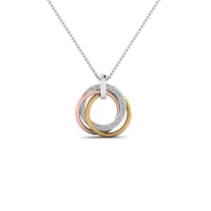 Tri Color Diamond Circle Necklace