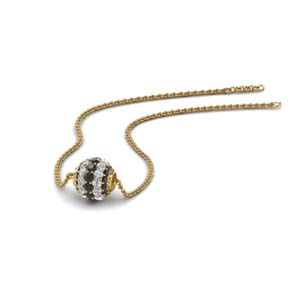 0.50 ct. pave sphere pendant with black diamond in FDPD8433GBLACK NL YG