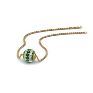 0.50 ct. pave diamond sphere pendant with emerald in FDPD8433GEMGR NL YG